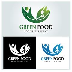 Green food logo design template. Vector illustration