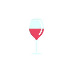 Wine glass flat icon, food & drink elements, alcohol drink sign, a colorful solid pattern on a white background, eps 10.