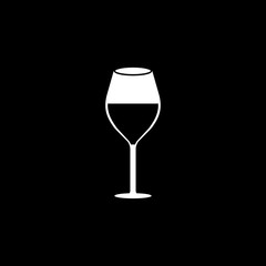 Wine glass solid icon, food & drink elements, alcohol drink sign, a filled pattern on a black background, eps 10.