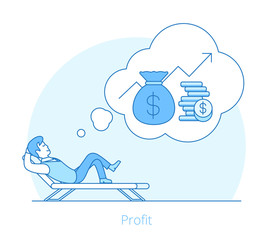 Linear Flat man profit recliner vector Money coins Business