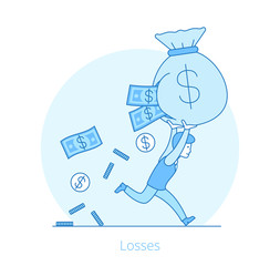 Linear Flat Losses Business man money bag vector illustration
