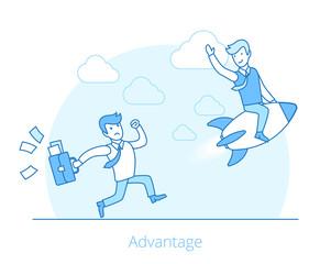 Linear Flat advantage man rocket flying web vector illustration