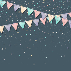 Bunting garland. Mesmeric celebration card with colorful paper bunting garland and confetti. Party background with bright decorations. Vector illustration.