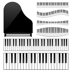 Piano with keyboard,key. Musical background. Melody. Instrument. Set. Sound. Classical instrument.