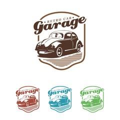 vw beetle classic retro car logo illustration