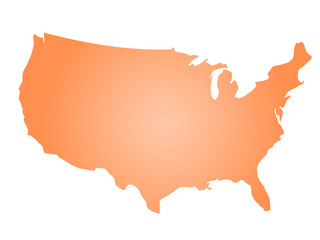 Orange radial gradient silhouette map of United States of America, aka USA. Vector illustration.