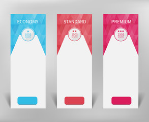 Three different versions of the tariffs, the flat design of vertical banners