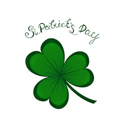st.Patrick's day lettering and Green Clover Shamrock. Traditional Irish hollyday background template design.