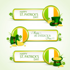 Patricks day banners with green hat with coins and clovers