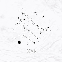 Astrology sign Gemini on white paper background