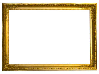 Decorative antique golden frame isolated on white background