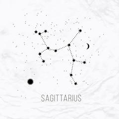 Astrology sign Sagittarius on white paper