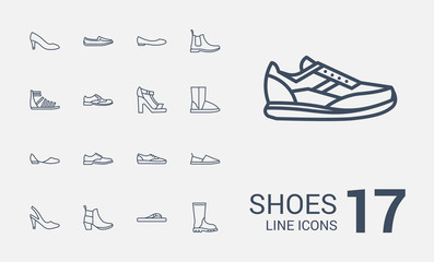 Shoes line icons set Wall mural