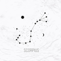 Astrology sign Scorpius on white paper background