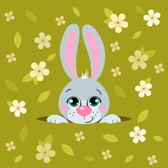 Cute cartoons  Easter rabbit. Suitable for Easter design. Vector illustration isolated for banners, site, card, calendar