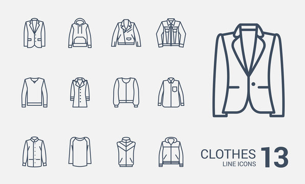 Jackets, sweaters and jackets line icons set