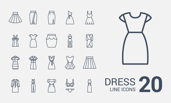 Dress line icons set