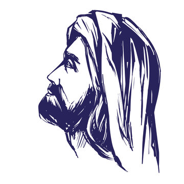 Jesus Christ, the Son of God , symbol of Christianity hand drawn vector illustration sketch