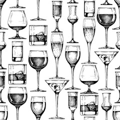 Seamless pattern with different glasses goblets