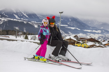 Ski girls on the mountain