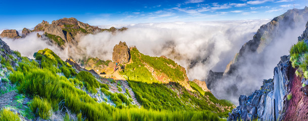 View of the mountains near Pico de Arieiro, Madeira Island, Portugal.