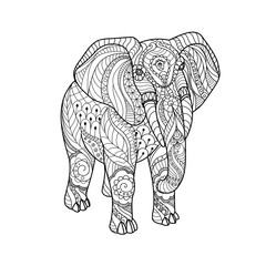 Elephant on white background Freehand sketch for adult anti stress coloring book page with doodle and zentangle elements.