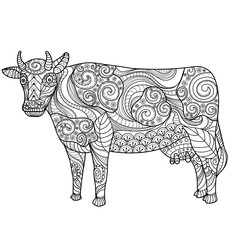 Cow on white background. Farm animal. Freehand sketch for adult anti stress coloring book page with doodle and zentangle elements.