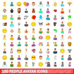 100 people avatar icons set, cartoon style
