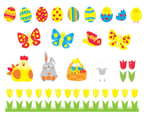 Easter elements collection with easter eggs, basket, cute bunny , tulip, chicks / vectors set for children