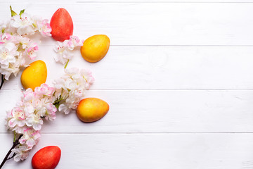 easter background and eggs