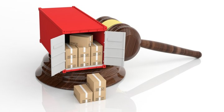 Container on an auction gavel. 3d illustration