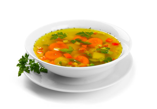 Fresh vegetable soup in plate on white background