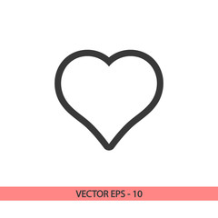 Heart Icon, vector illustration. Flat design style
