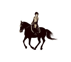 Young rider on a galloping horse, equestrian illustration on a white background, show jumping