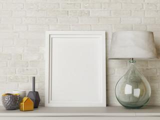 White mock up frame, hipster background. 3d rendering, 3d illustration