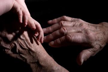 Baby Hand - Urgroßvater Hand-Generationen