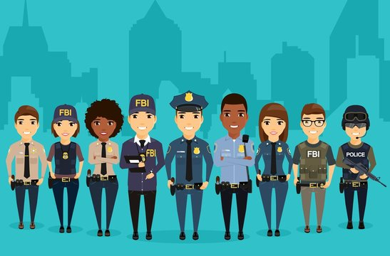 Young law enforcement officials are on the background of the city. Different professions protection of citizens. Professionals in their field. Sheriff, Federal Bureau of Investigation, special forces