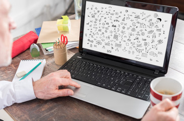 Creativity concept on a laptop screen