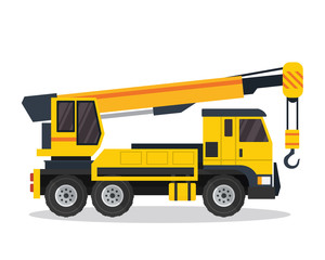 Modern Flat Construction Vehicle Illustration - Crane Truck