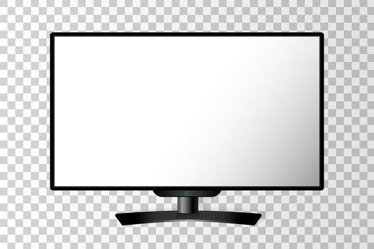 Realistic black modern TV monitor isolated. Vector illustration
