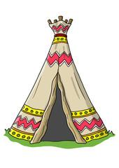Ausmalbild Indianerzelt koloriert