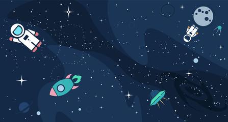 Vector flat cosmos design background