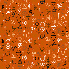 pattern with alchemy symbols