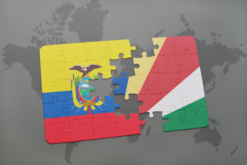 puzzle with the national flag of ecuador and seychelles on a world map