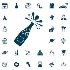 Champagne bottle explosion icon, wedding set on white background.