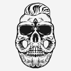 hipster skull with beard and mustache. vector