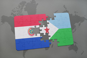 puzzle with the national flag of paraguay and djibouti on a world map