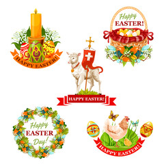 Easter holiday symbol and label set