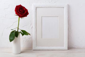 White frame mockup with dark red rose in vase