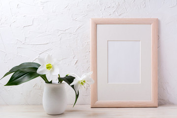 Wooden frame mockup with white lily in flower pot
